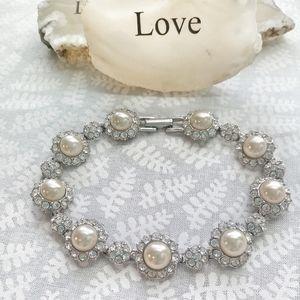 Joan Rivers Faux Pearls & Rhinestone Silver Bracel